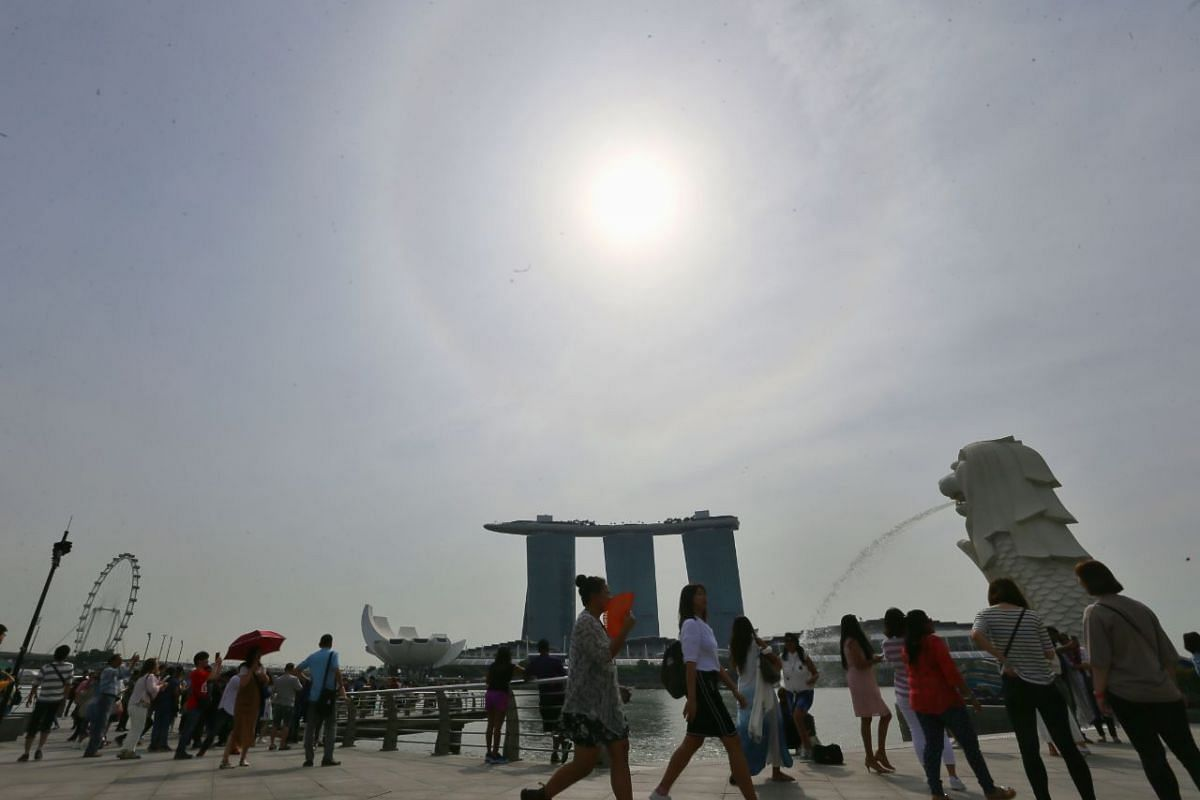 The sun shines above Merlion Park on Jan 16 as visitors use umbrellas and fans to keep themselves cool.
