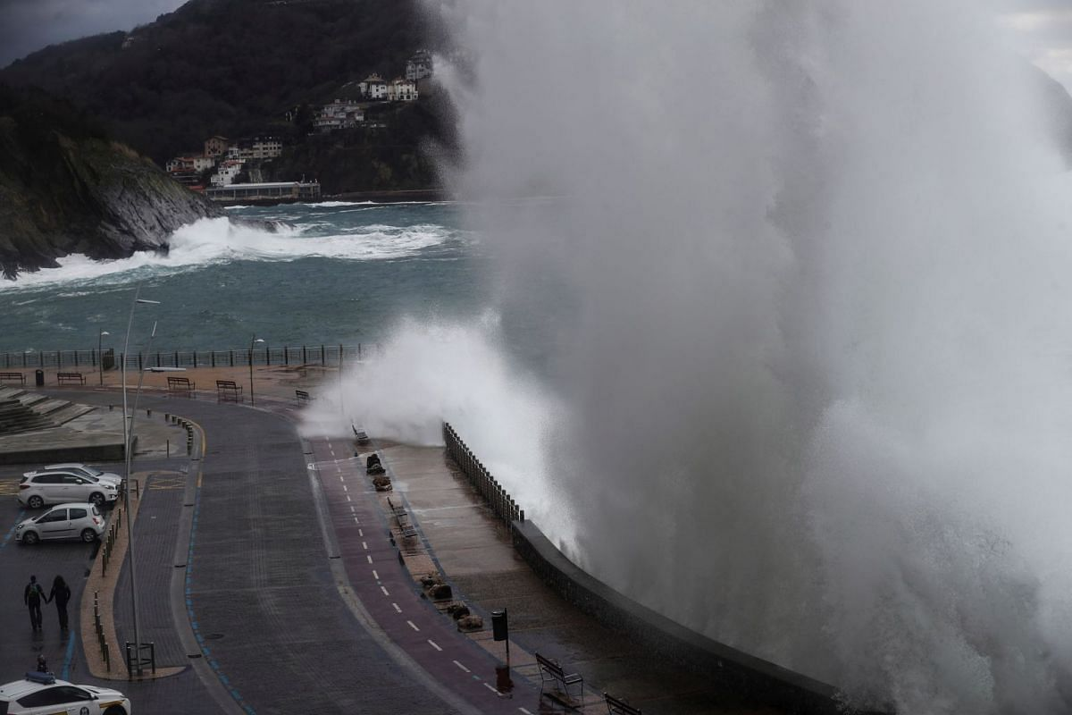 A giant wave hits the coast in San Sebastian, Basque Country, northern Spain, January 16, 2018. The regional authorities for sea and coast security have declared the 'orange' alert due to giant waves and strong winds in the region.