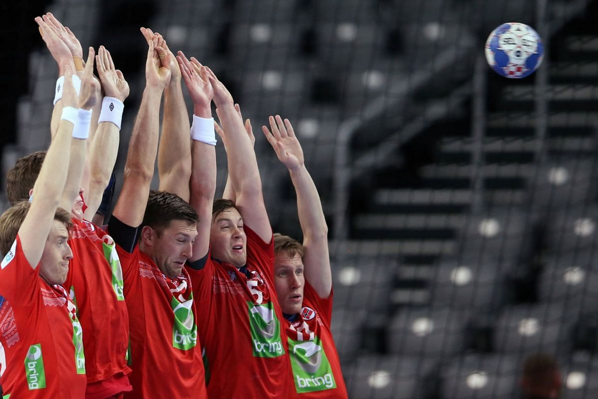 Norway's team in the Men's EHF European Handball Championship, Serbia v Norway in Croatia on January 18, 2018.