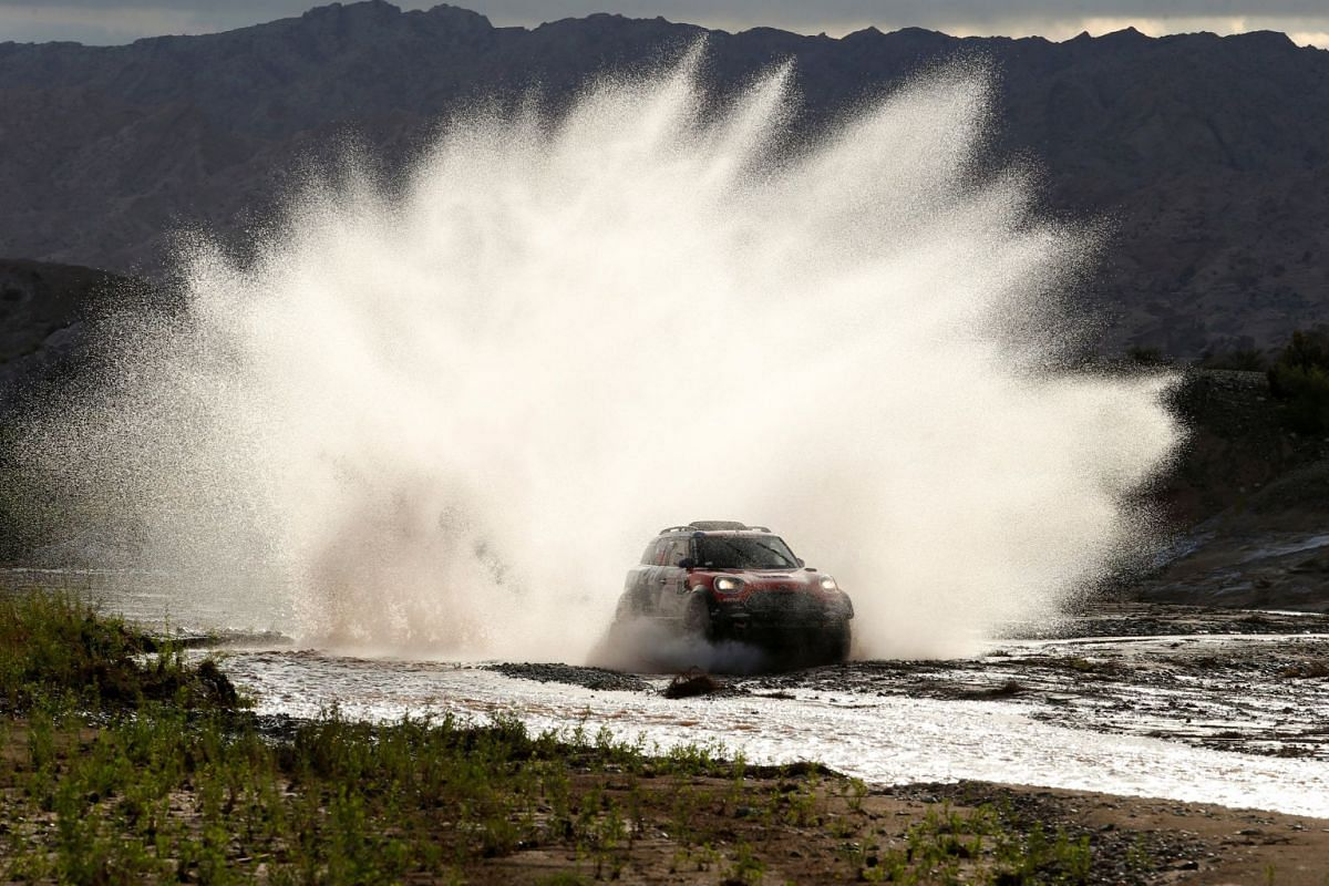 Jakub Przygonski of Poland and co-pilot Tom Colsoul of Belgium drive their Mini in the 2018 Peru-Bolivia-Argentina Dakar rally - 40th Dakar Edition stage twelve, Chilecito to San Juan - January 18, 2018.