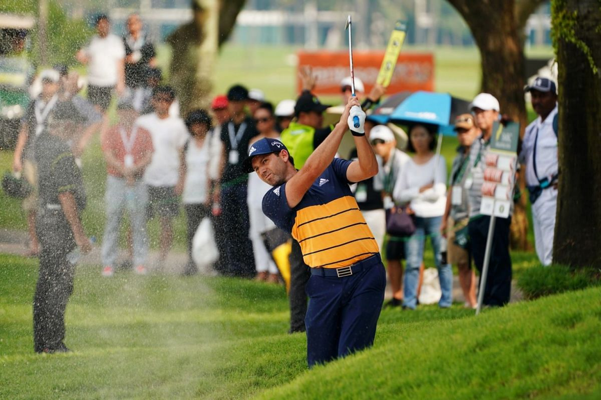 Sergio Garcia of Spain hits the ball during the second day of the SMBC Singapore Open.