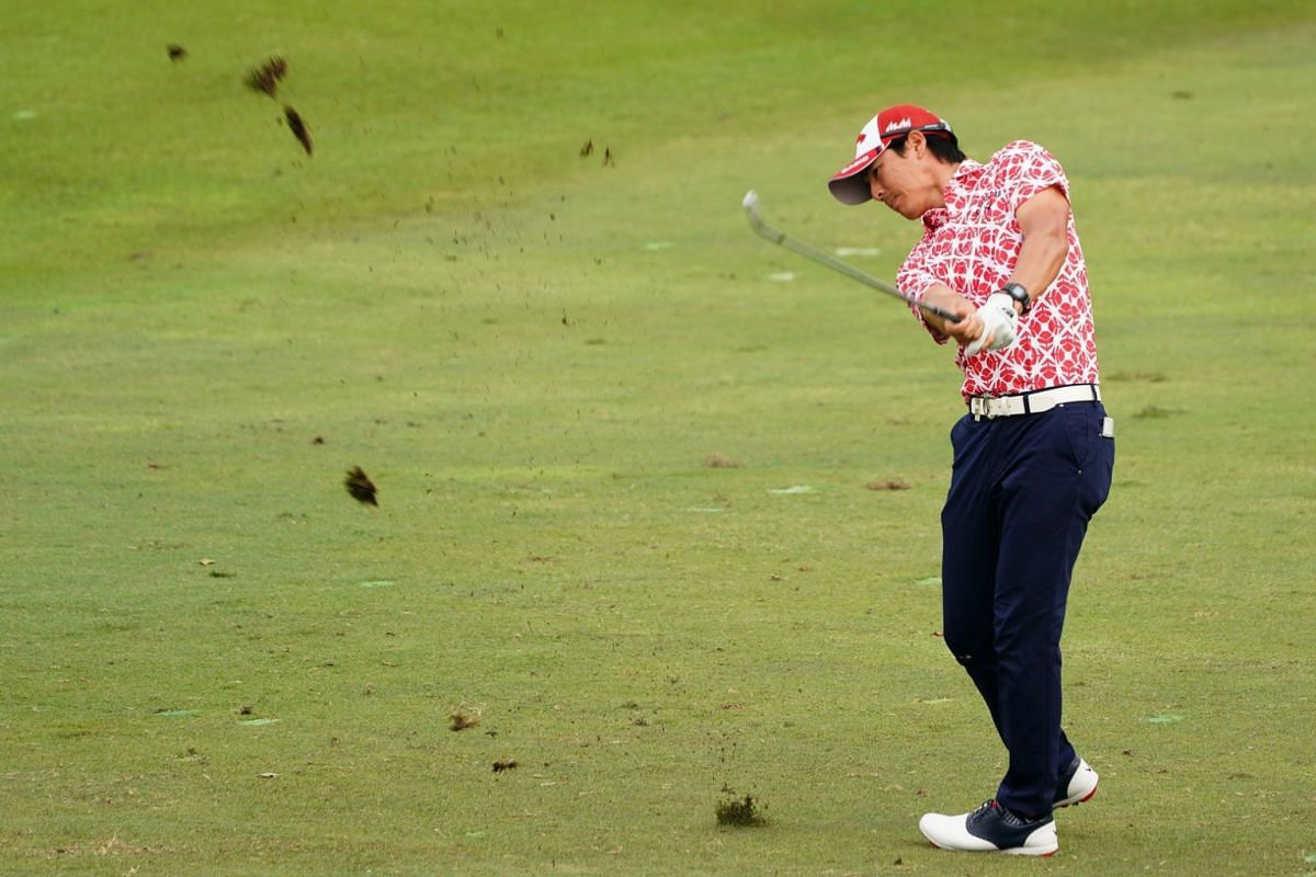 Ryo Ishikawa of Japan hits the ball during the second day of the SMBC Singapore Open.