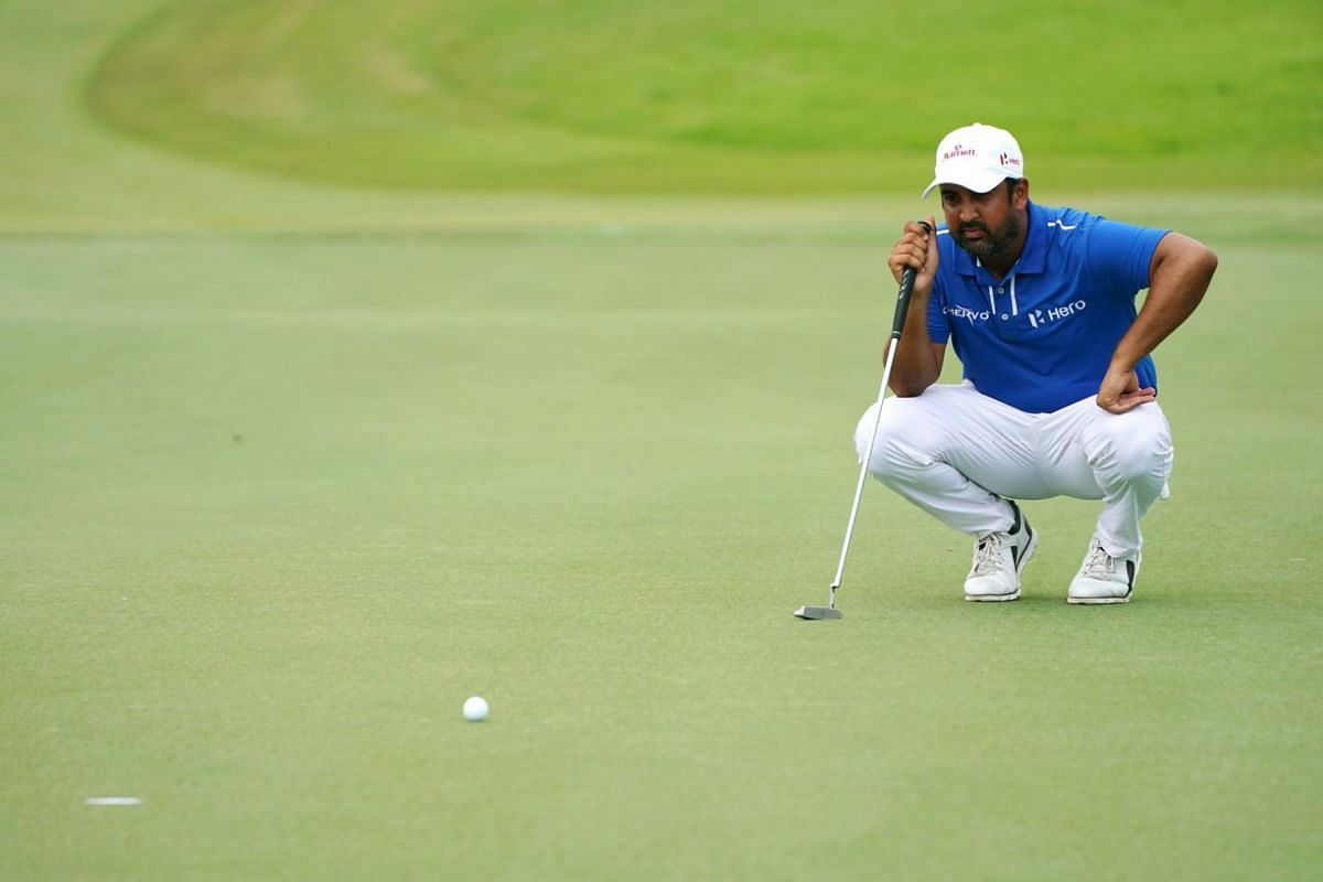 Shiv Kapur of India lining up a shot at Hole 9 during the second day of the SMBC Singapore Open.