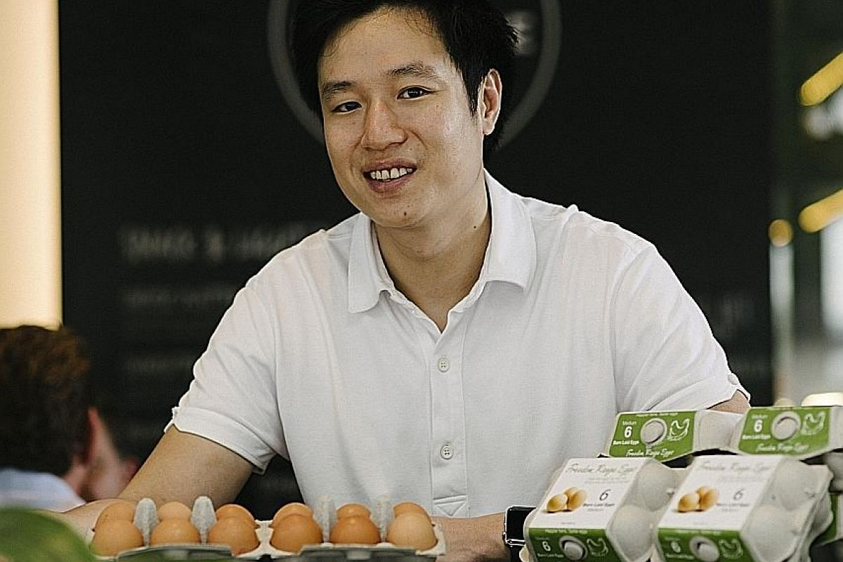 Mr Adrian Chong's The Freedom Range Co produced 100,000 cage-free eggs in its first year, compared with the largest egg farms here, which produce one million eggs a day.