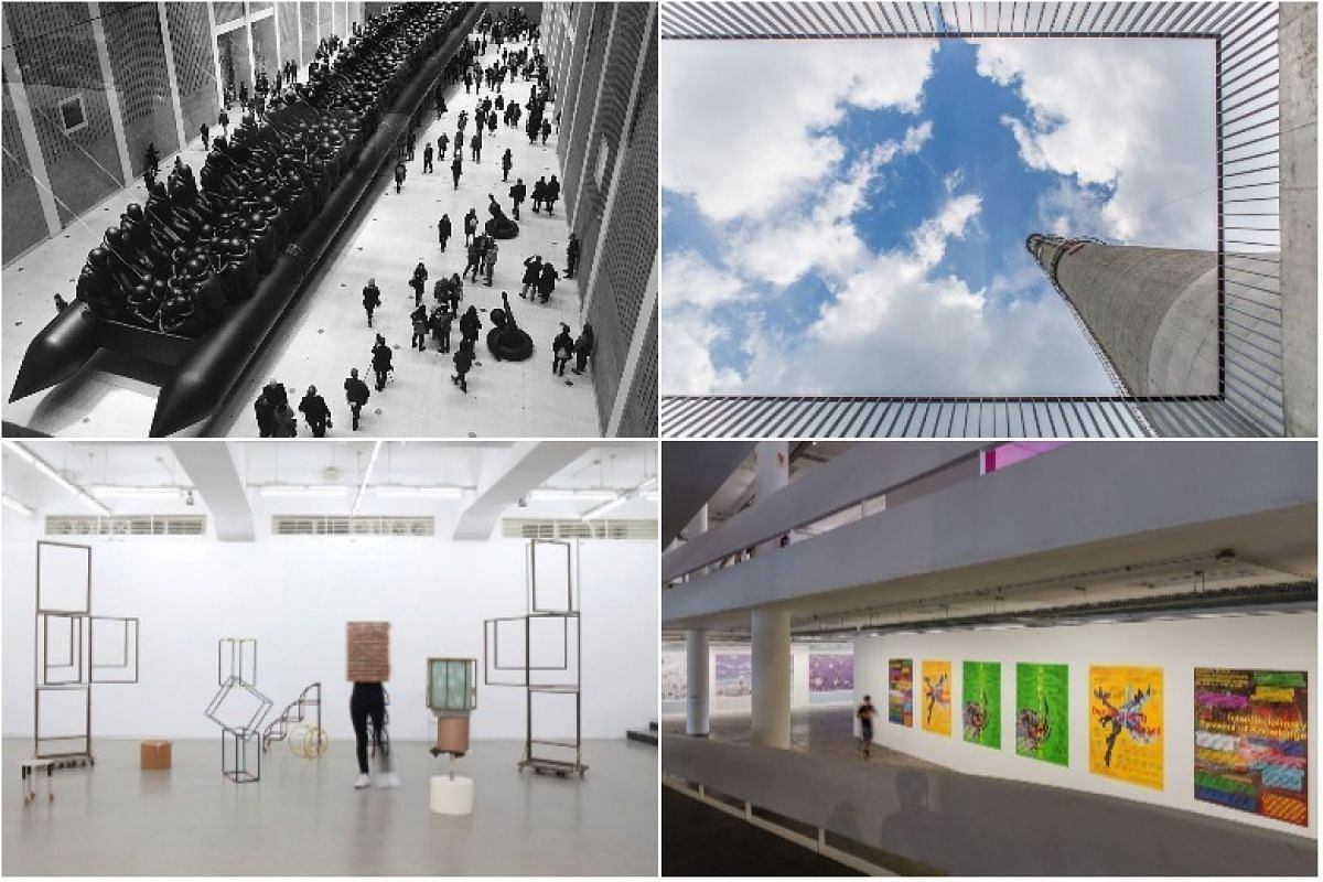 (Top row, from left) Law Of The Journey, 2017, by Chinese artist Ai Weiwei, will be on display as part of the 21st Biennale of Sydney, The Shanghai Biennale will take place in the city's Power Station Of Art, a former power plant, (bottom row, from l