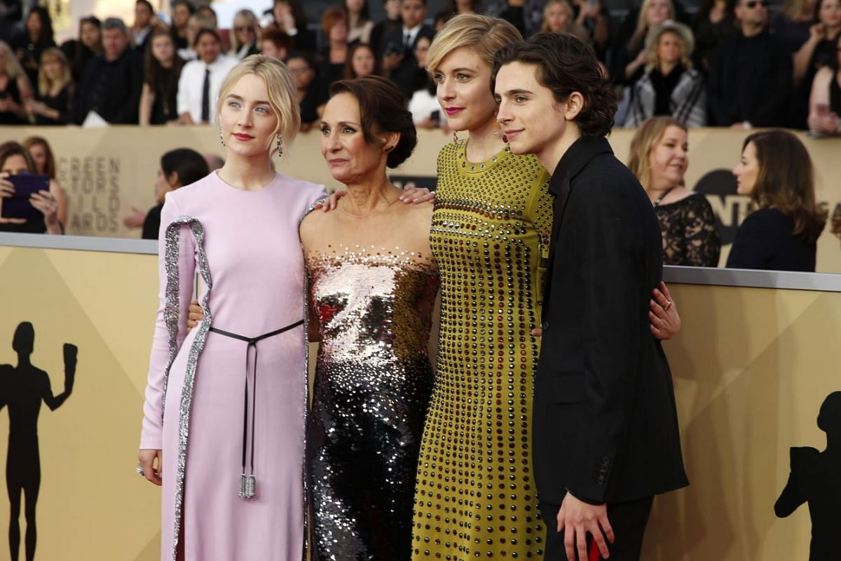 (From left) Actresses Saoirse Ronan, Laurie Metcalf, Greta Gerwig and actor Timothee Chalamet.