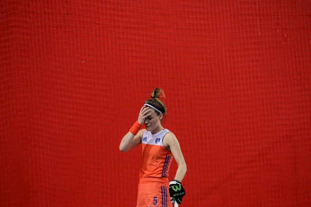 Donja Zwinkels of Netherlands reacts after her penalty shot during the 2018 Eurohockey Women's Indoor Championship final match between Germany and The Netherlands in Prague, Czech Republic, on Jan 21, 2018.