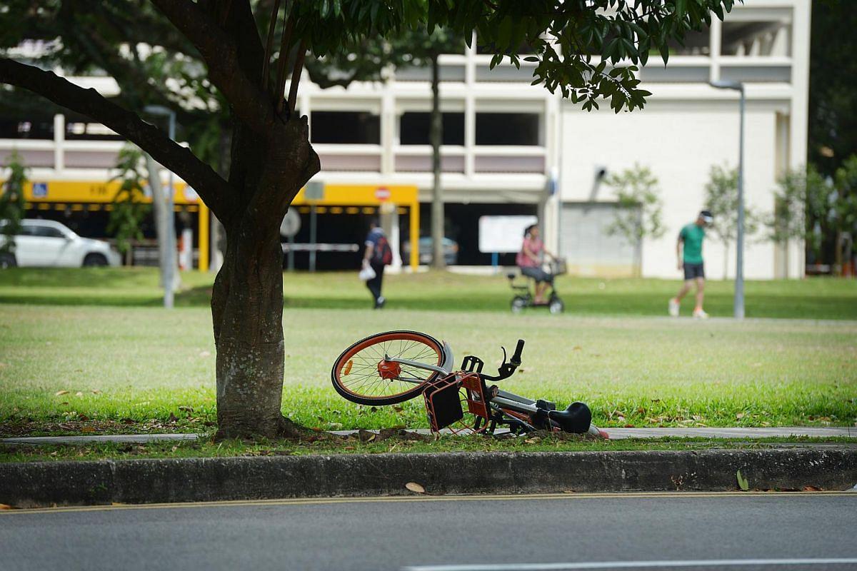 A Mobike left abandoned along Jalan Bahagia, on Dec 29, 2017.