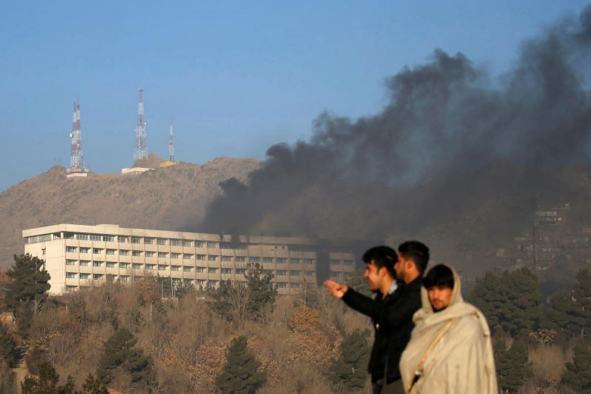 Smoke rises from the Intercontinental Hotel during an attack in Kabul, Afghanistan on Jan 21, 2018.