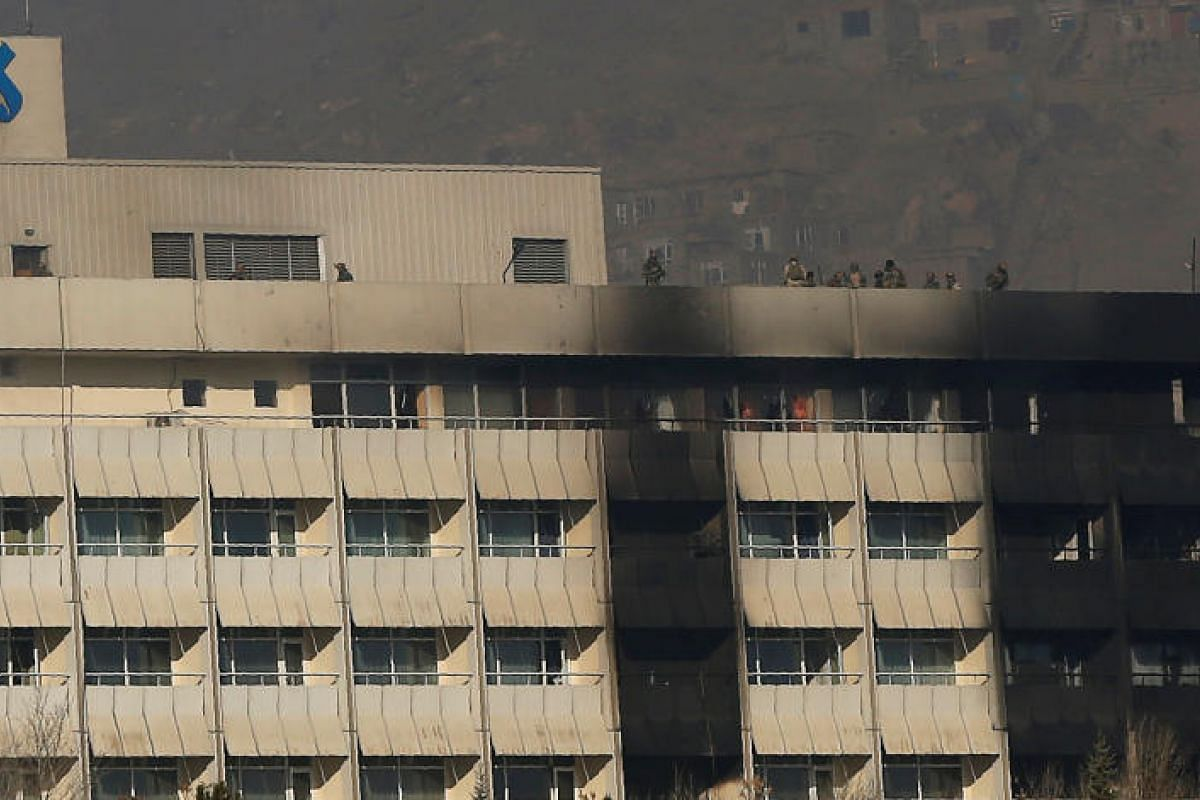 Afghan security forces on the roof of the Intercontinental Hotel in Kabul on Jan 21, 2017.