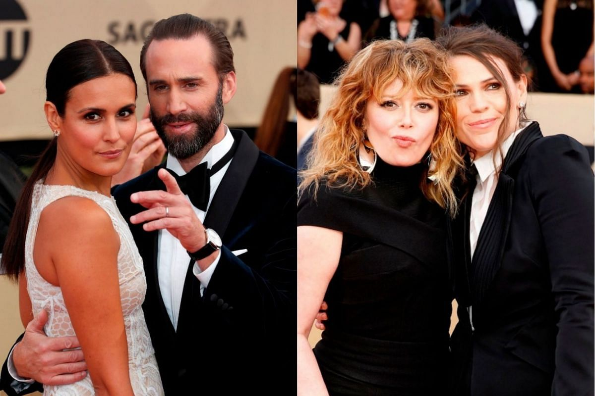 Actor Joseph Fiennes (second, left) poses for a photo with wife Maria Dolores Dieguez, and actresses Natasha Lyonne and Clea DuVall.