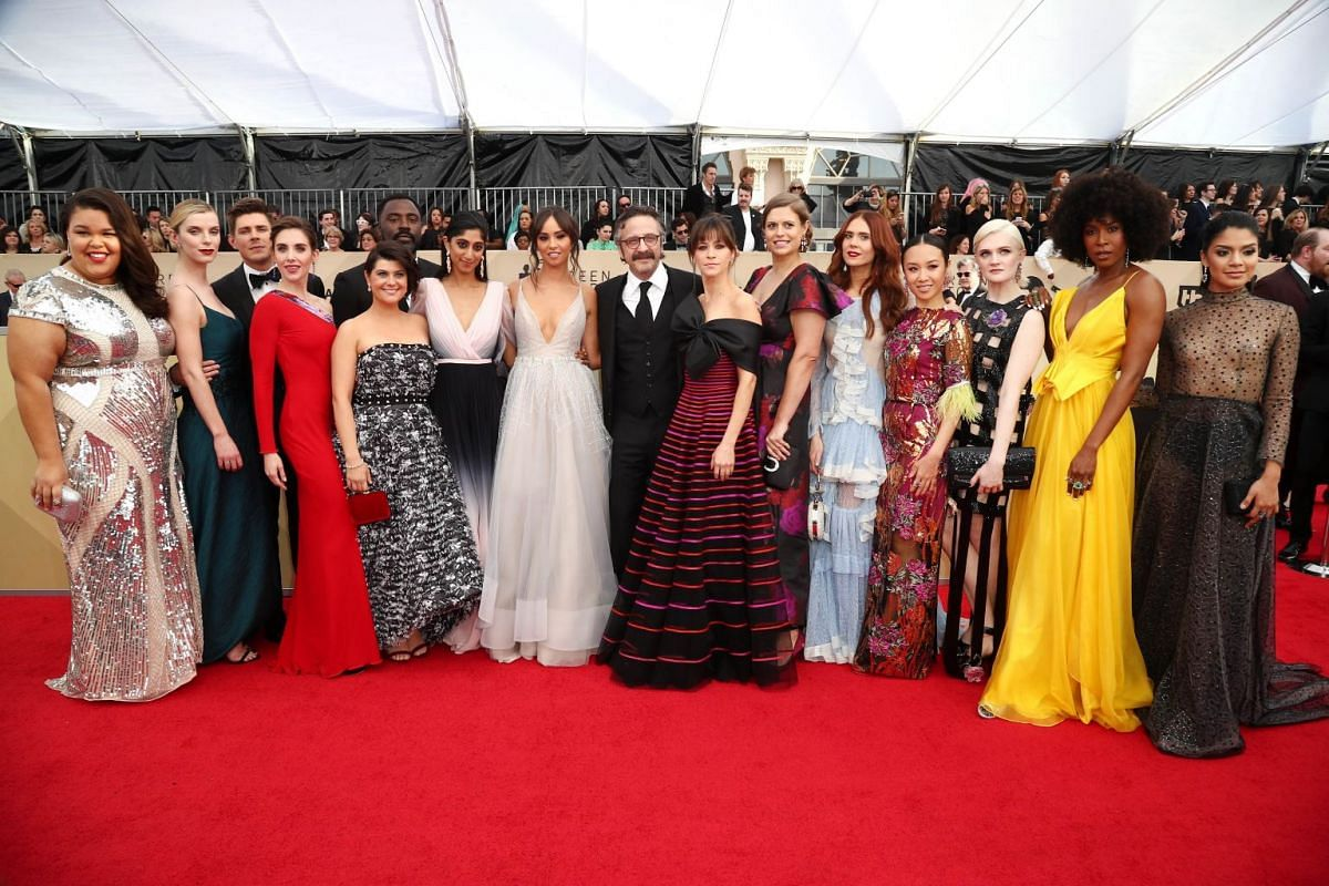 Cast of Glow arrive at the 24th Annual Screen Actors Guild Awards at The Shrine Auditorium.