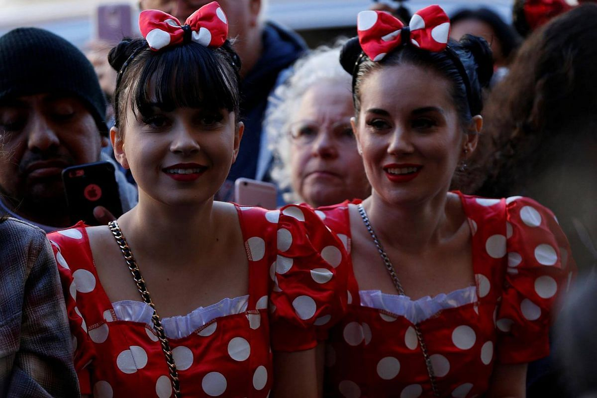 Fans waiting at the unveiling of the star for Minnie Mouse on the Hollywood Walk of Fame in Los Angeles, on Jan 22, 2018.