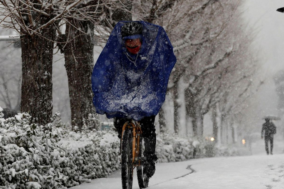 A man rides a bicycle in the heavy snow in Tokyo, Japan on Jan 22, 2018.