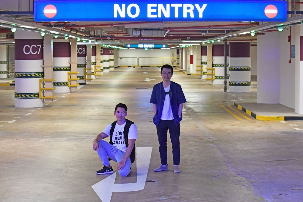 Einstein In The Carpark, directed by Liu Xiaoyi (left), takes place in the basement carpark of the Esplanade and stars Singaporean actor George Chan (far left) and Chinese kunqu star Zhang Jun (not pictured).