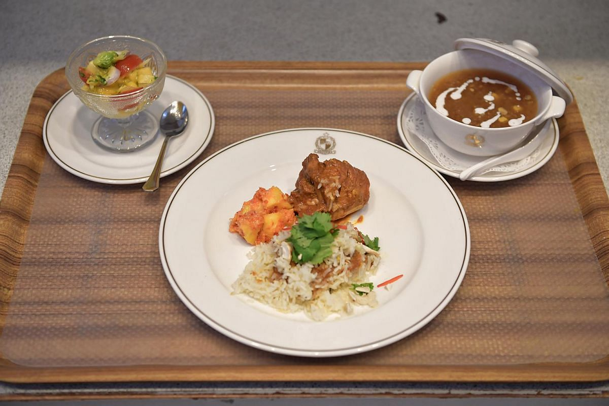 The three dishes that Mr Paul Simon prepared for President Halimah Yacob: (from left) mango salsa salad, chicken briyani and sweet corn sago.