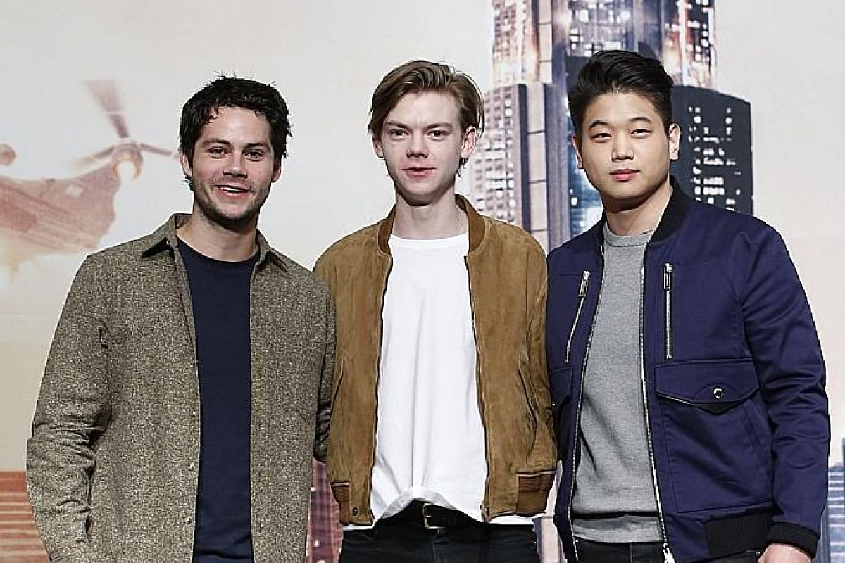 (From left) Dylan O'Brien, Thomas Brodie-Sangster and Lee Ki Hong in Seoul for the movie premiere of Maze Runner: The Death Cure earlier this month.