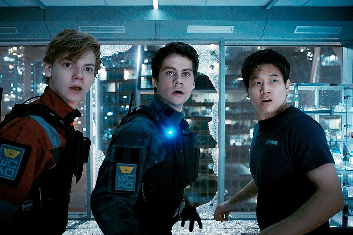 Maze Runner: The Death Cure stars (from left) Thomas Brodie-Sangster, Dylan O'Brien and Lee Ki Hong.