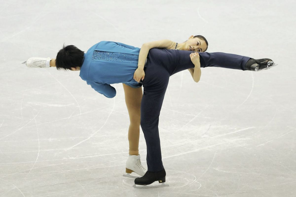 Miu Suzaki and Ryuichi Kihara of Japan perform during the Pairs Short Program at the Figure Skating Four Continents Championships in Taipei, Taiwan, on Jan 24, 2018.
