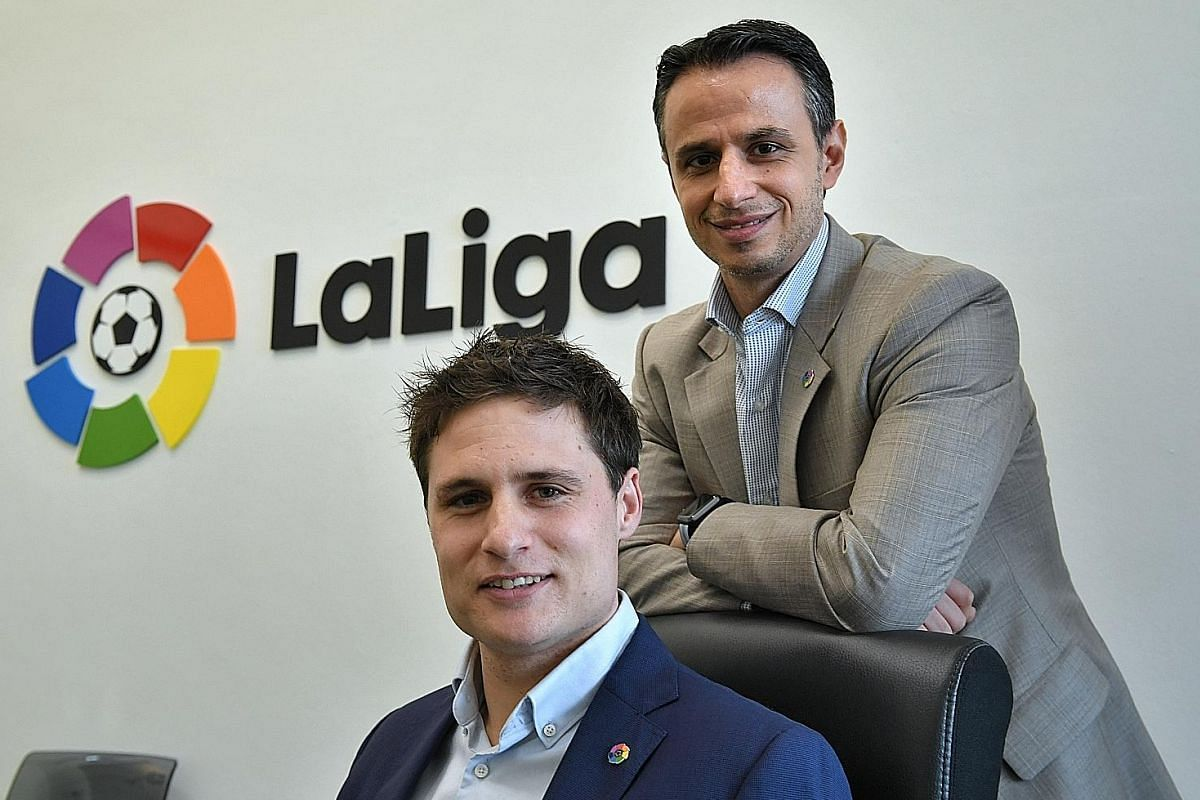 """LaLiga's head of international business development Oscar Mayo (front) and director for South-east Asia, Japan and Korea Ivan Cordina are setting their sights on making the Spanish football competition the """"second league"""" in every market, behind the"""