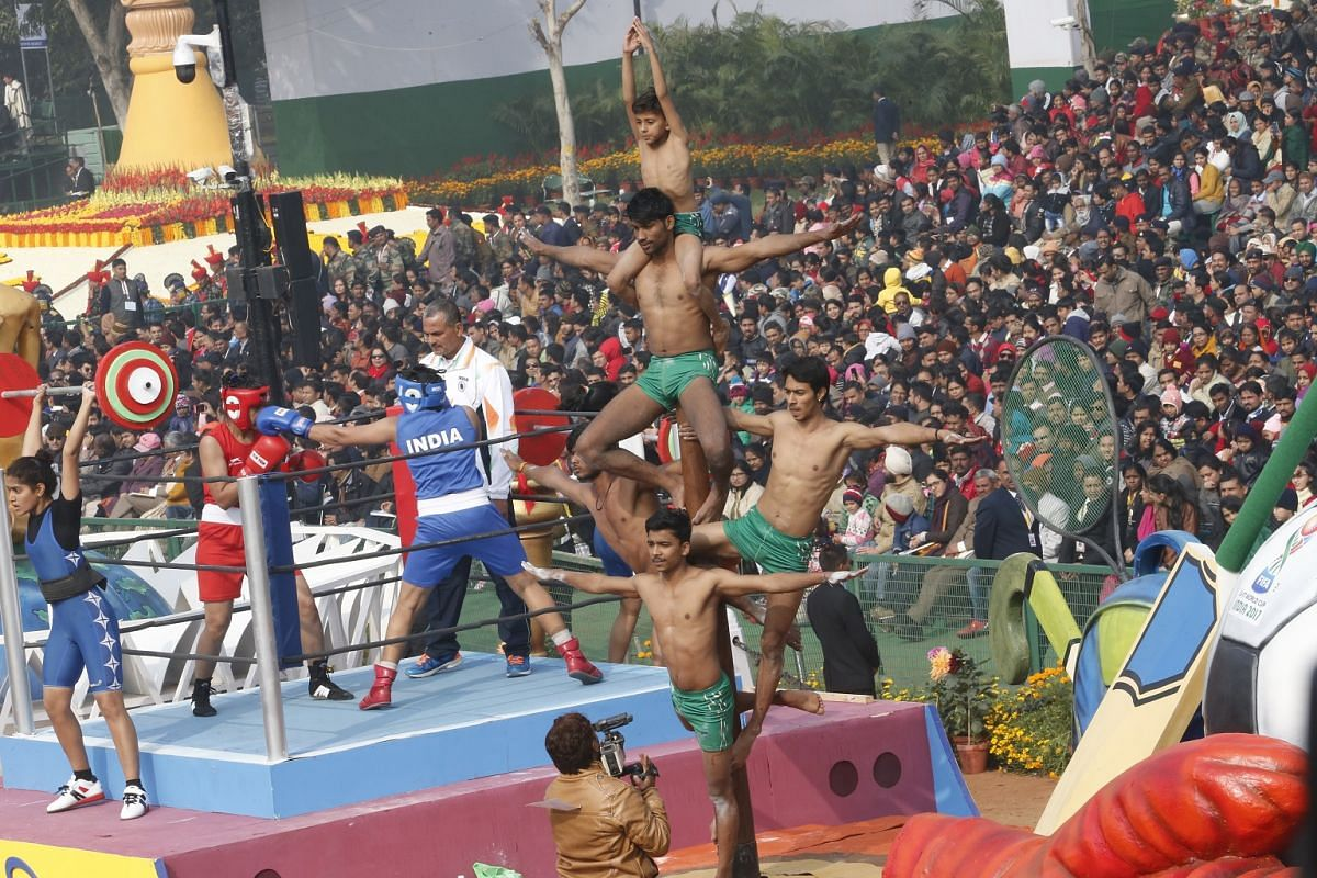 Various floats depicting the different states in India joined the parade, some even with dancers on top of them.
