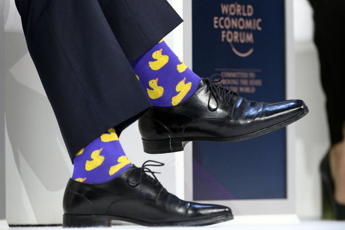Canadian Prime Minister Justin Trudeau sported duck socks during a plenary session in the Congress Hall during the 48th Annual Meeting of the World Economic Forum in Davos, on Jan 25, 2017.