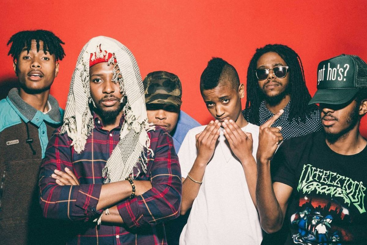 Members of American group (from far left) Steve Lacy, Patrick Paige II, Matt Martians, Syd Bennett, Christopher Smith and Jameel Bruner (who left the band in 2016).