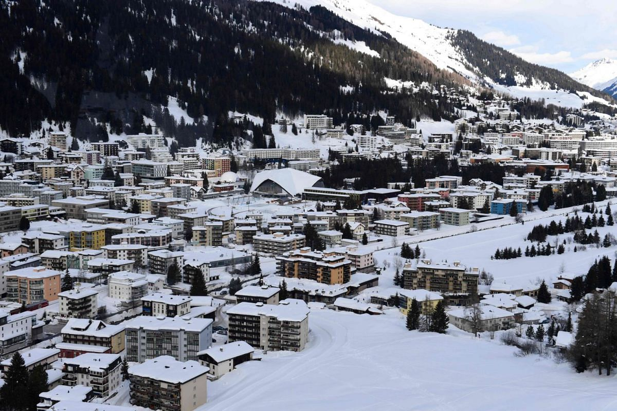 A view of the Davos ski resort, where the annual World Economic Forum is being held, on Jan 26, 2018.
