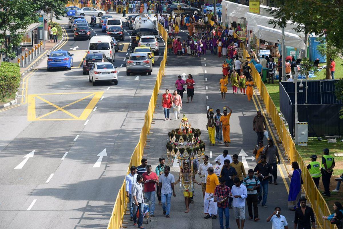 The Thaipusam procession from Sri Srinivasa Perumal Temple in Serangoon Road to Sri Thendayuthapani Temple in Tank Road.