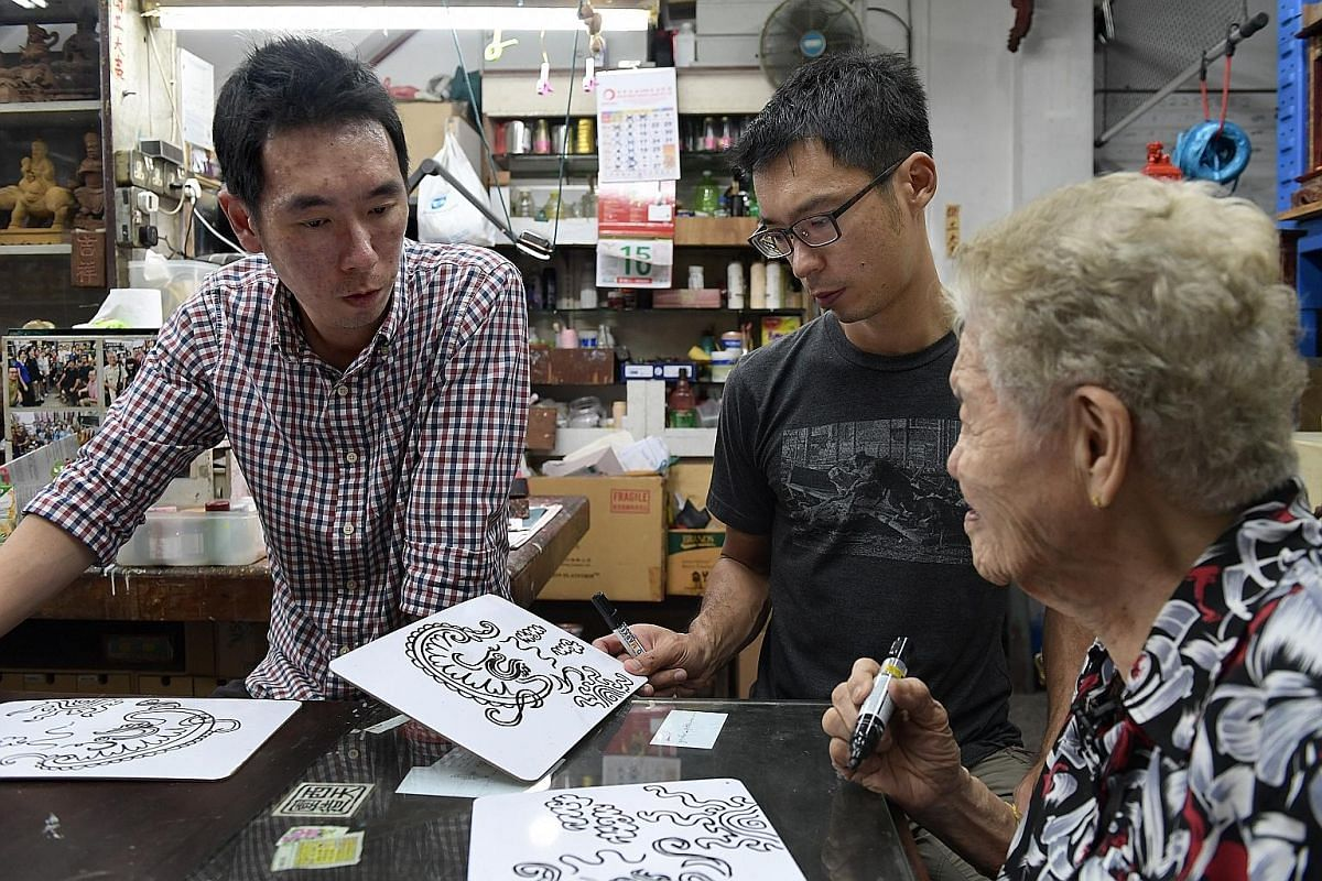 Once a week after work, Mr Ng Tze Chong (left), assistant manager, content curation at Discovery Networks Asia-Pacific, and brother Tze Yong, chief executive of local charity group Equal-Ark, get to learn more about the trade from their grandmother,