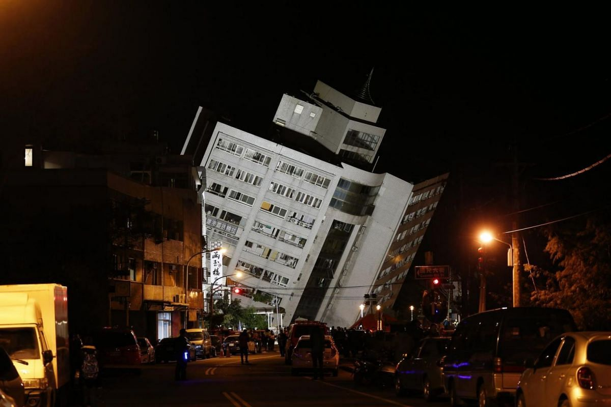 A building in Hualien damaged during the disaster.
