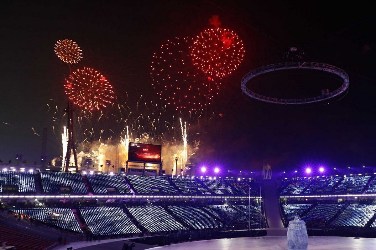 Fireworks are seen during the opening ceremony of the Pyeongchang Winter Olympics.