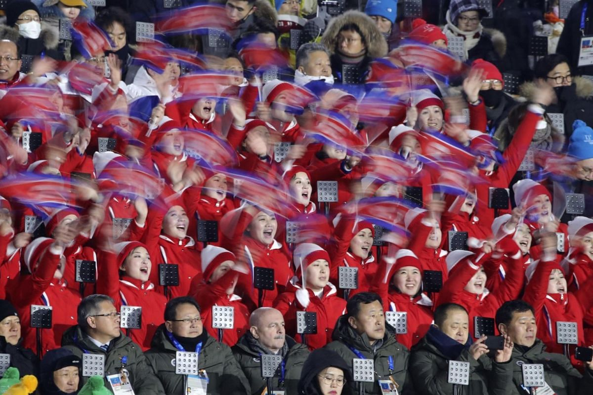 North Korea's cheerleaders at the opening ceremony of the Pyeongchang Winter Olympics.