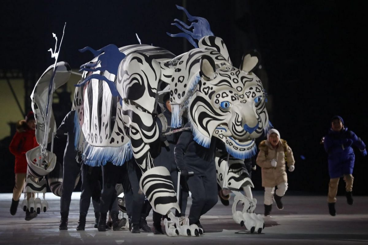 Artists perform during the opening ceremony of the Pyeongchang Winter Olympics.