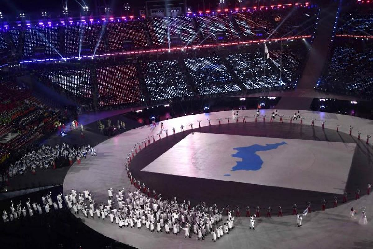 The Korea parade during the opening ceremony of the Pyeongchang Winter Olympics.