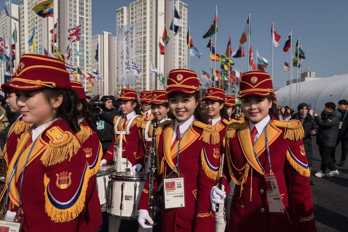 A North Korean cheering band leave a welcoming ceremony for North Korea's athletes, at the athletes village of the 2018 Pyeongchang Winter Olympic games, on Feb 8, 2018.