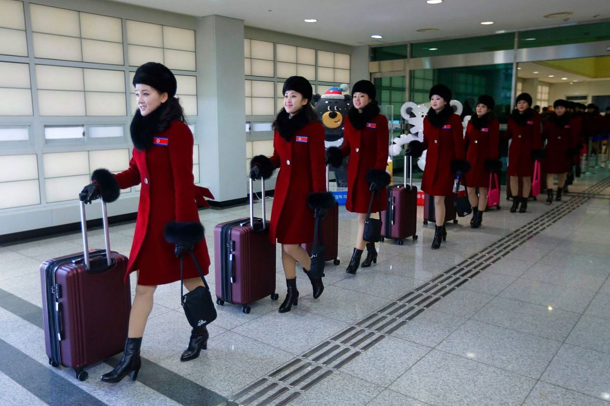 North Korean cheering squads arrive at the Korean-transit office near the Demilitarized Zone ahead of the Pyeongchang 2018 Winter Olympic Games, on Feb 7, 2018.