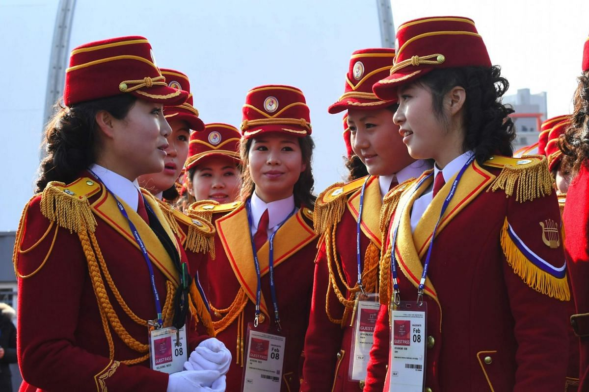 North Korean cheerleaders preparing to perform before a welcoming ceremony for North Korea's Olympic team at the Olympic Village, on Feb 8, 2018.