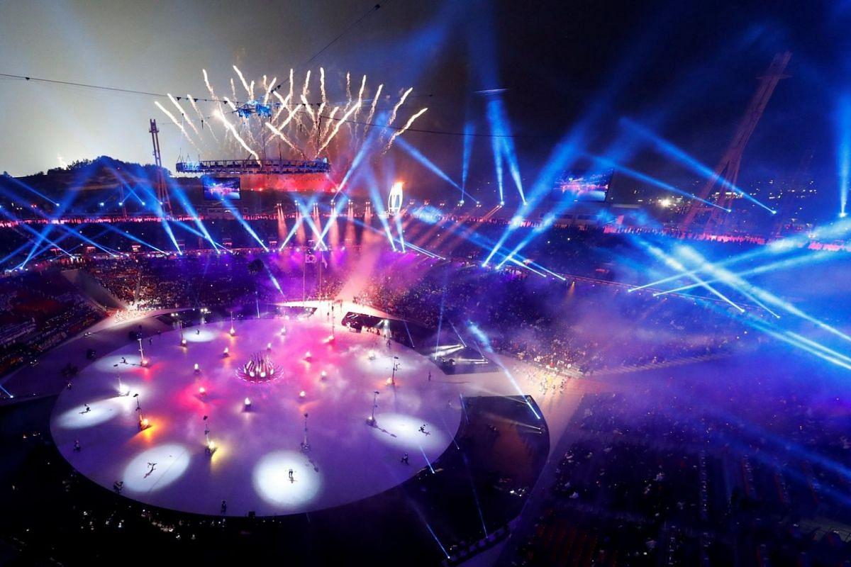 A general view of the opening ceremony of the Pyeongchang Winter Olympics.