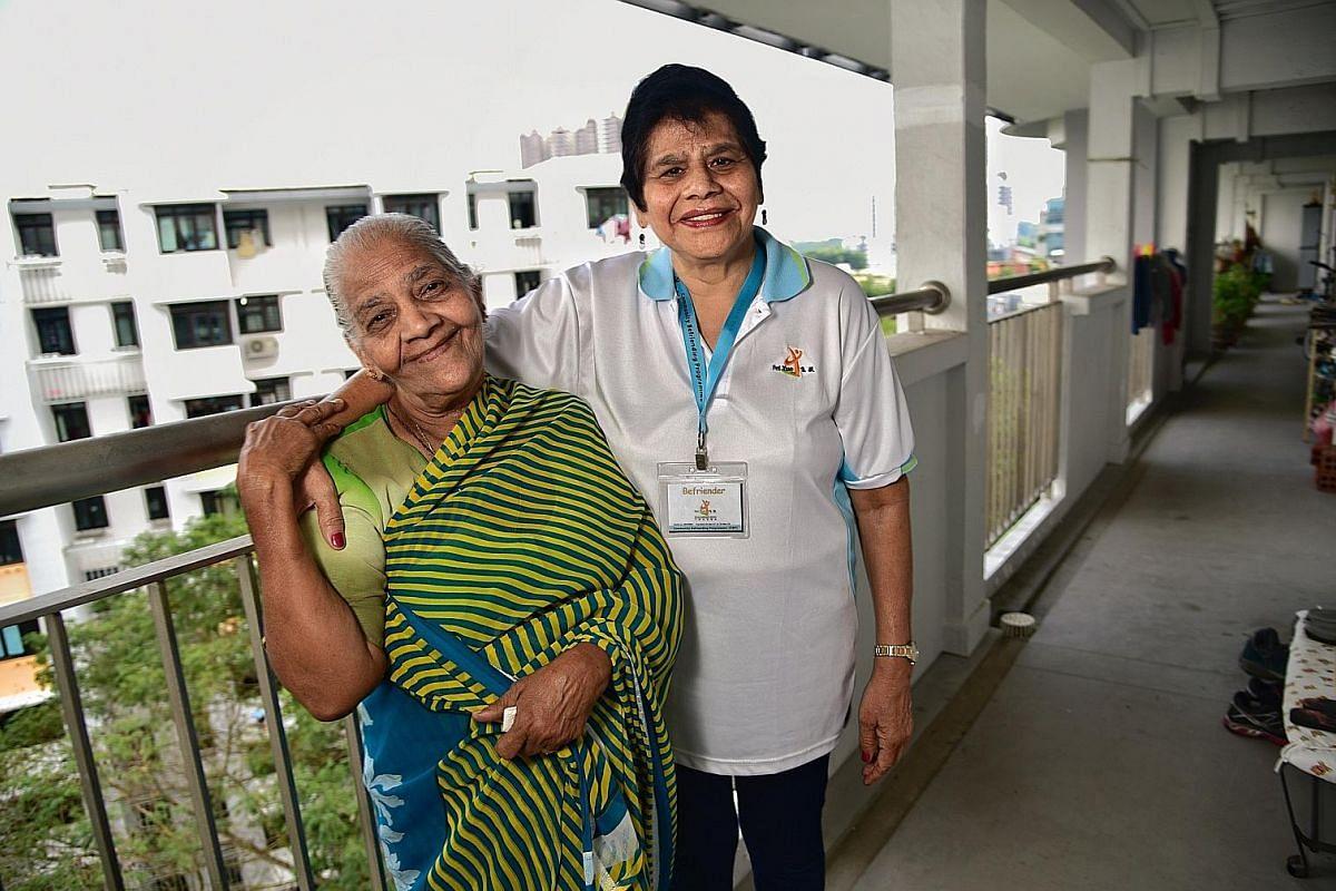 Madam Victoria Rany Francis (far left) looks forward to visits from Madam Renuka Devi Ratty.