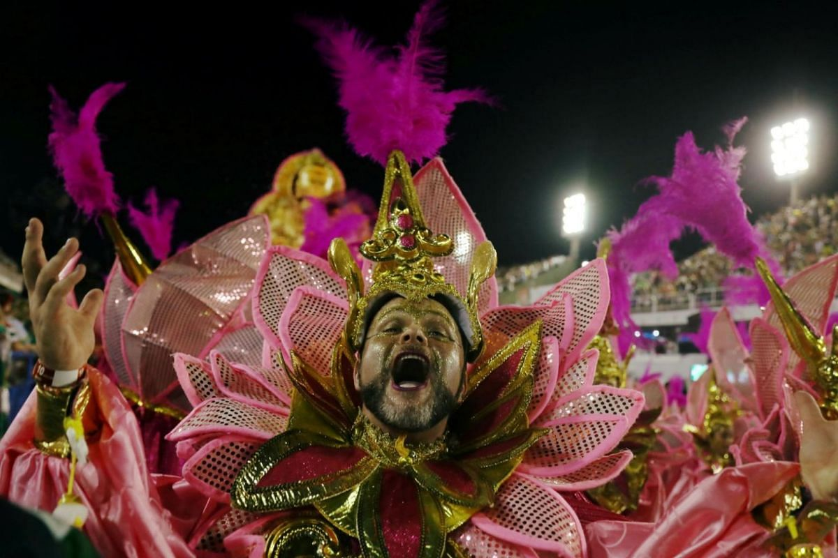 Another reveller from Imperio Serrano samba school performing at the parade.