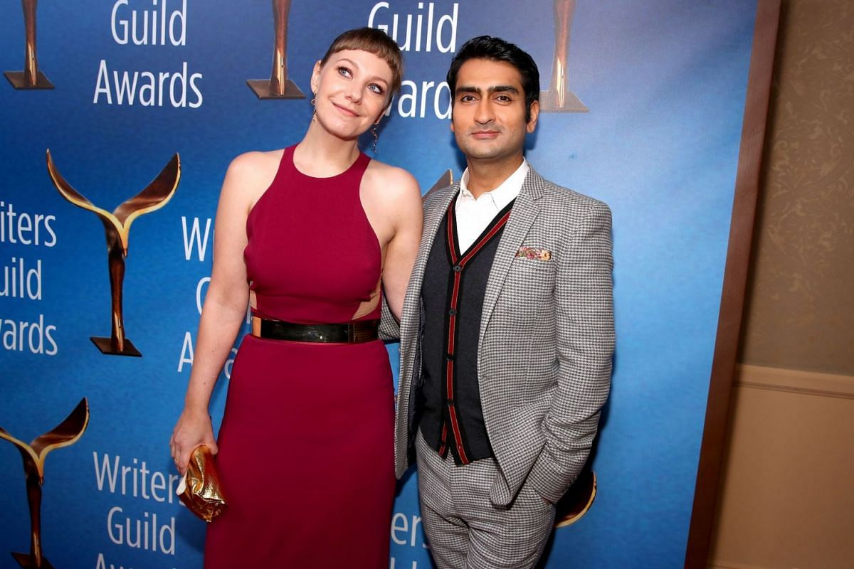 Husband-and-wife writing team Kumail Nanjiani and Emily V Gordon, who wrote the Oscar-nominated The Big Sick, arrive for the awards.