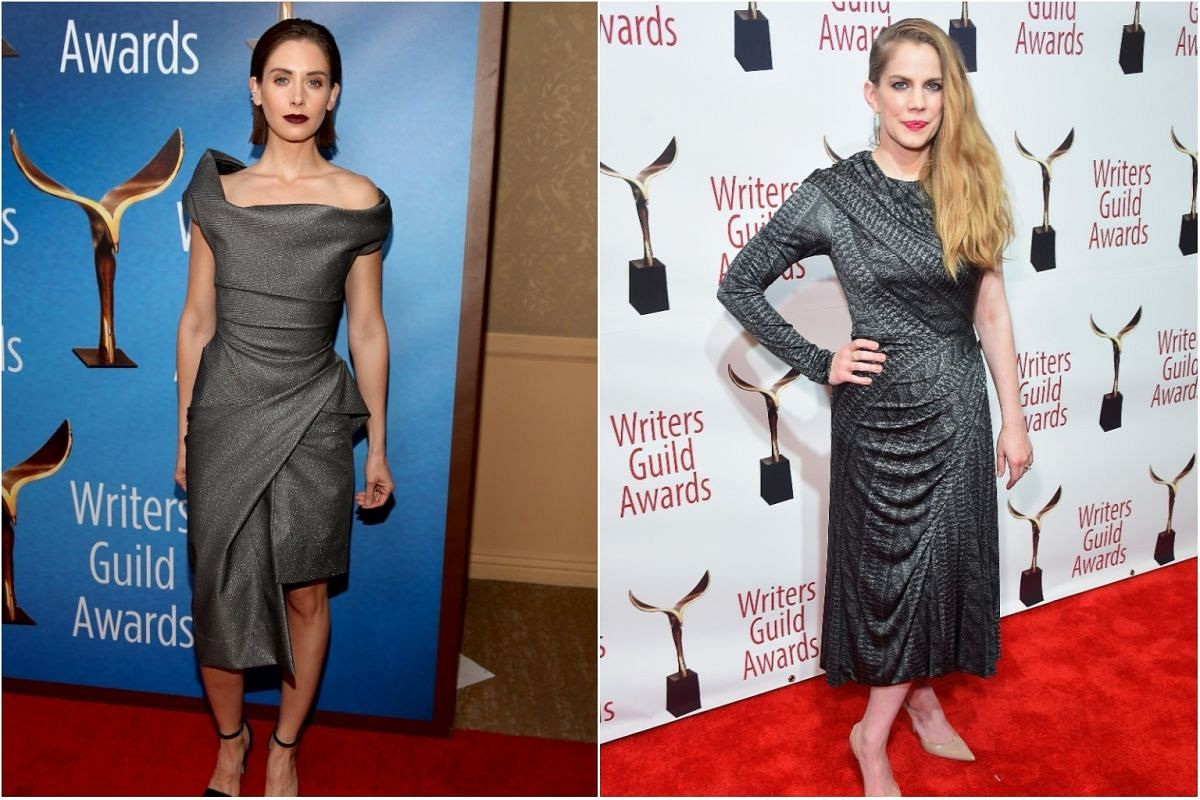 Actresses Alison Brie and Anna Chlumsky arrive on the red carpet for the awards.