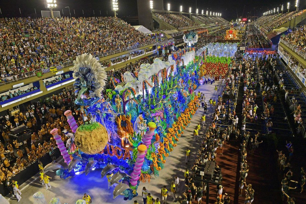 Revellers of the Unidos da Tijuca samba school perform during the second night of Rio's Carnival at the Sambadrome in Rio de Janeiro, Brazil, on February 12, 2018. PHOTO: AFP