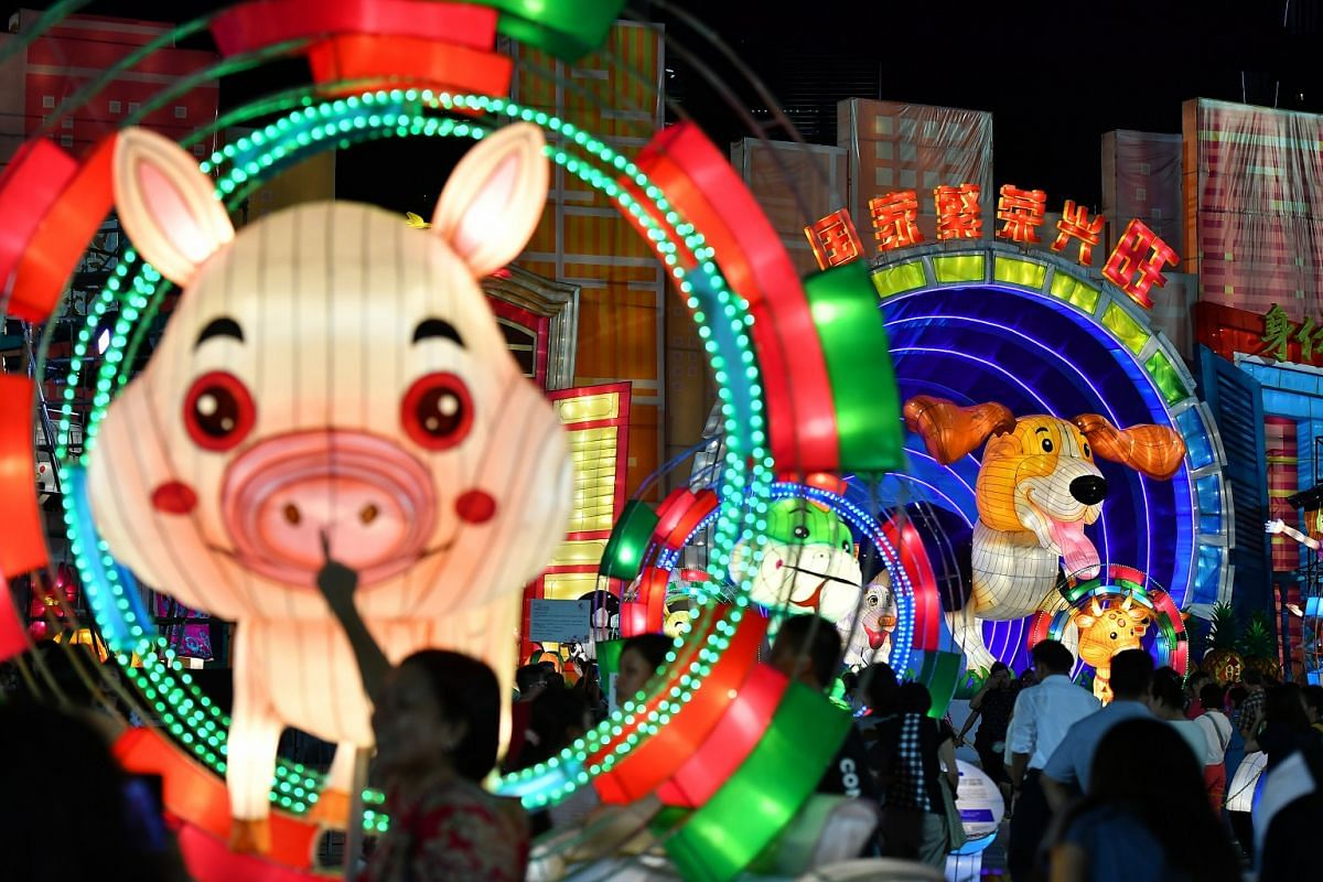 Lanterns representing animals from the Chinese zodiac on display at the River Hongbao.