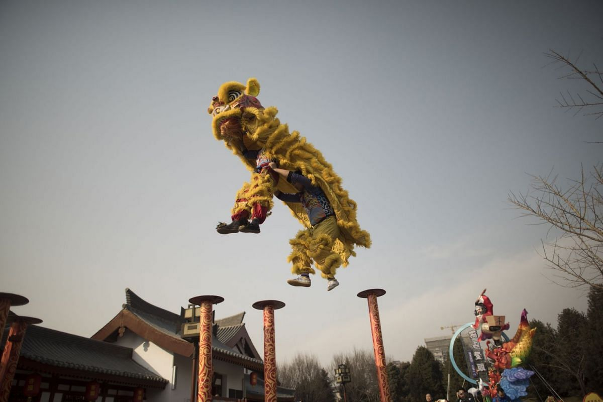 Lion dance performance at the Tang Paradise Park in Xi'an, Shaanxi province, on February 14, 2018, ahead of the coming Lunar New Year, marking the Year of the Dog. PHOTO: AFP