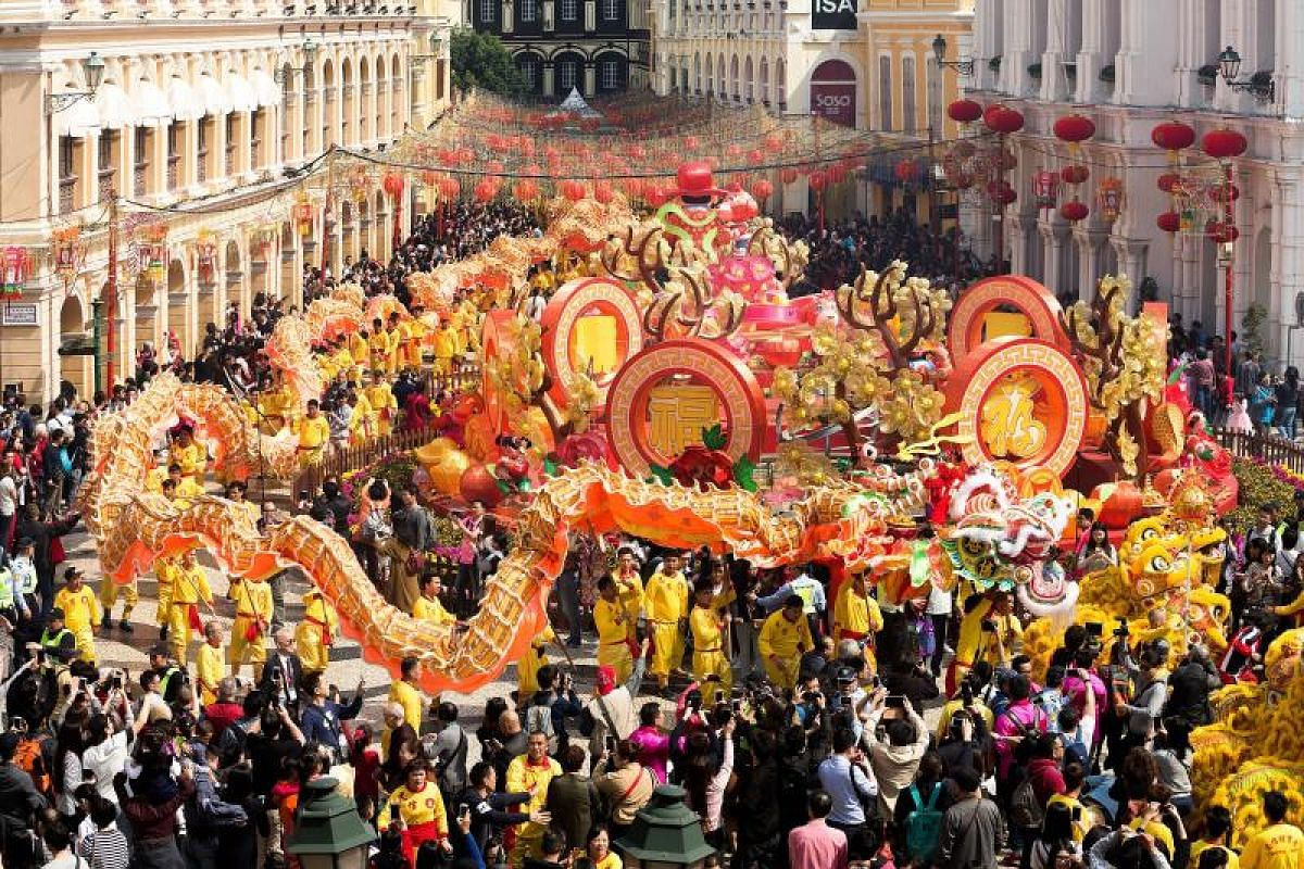 A group of dancers perform 'Liong' or dragon dance during the Chinese Lunar New Year celebrations in Macau, China, on Feb 16, 2018.