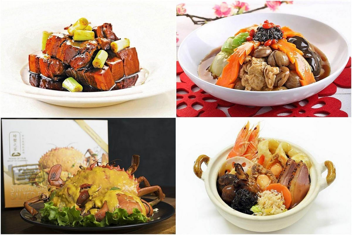 (Clockwise from top left) Tunglok's Grandma-Style Braised Pork, Select Group's Eight Treasures Vegetable, JR Group's Pencai and House of Seafood's Salted Egg Crab.