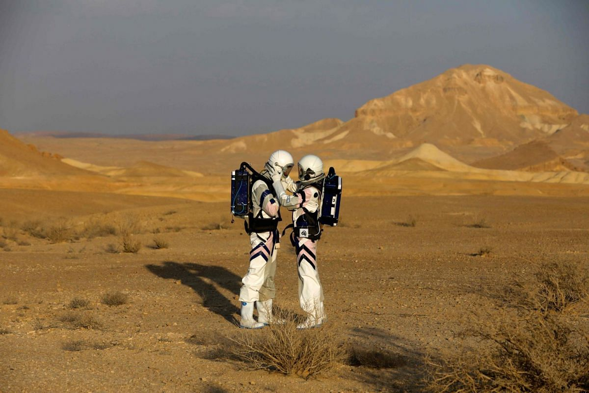 Israeli analog astronauts start their mission on the D-MARS Project on February 18, 2018, in cooperation with the Israel Space Agency, which simulates life on Mars by performing several scientific experiments and staying in the D-MARS (Desert Mars An