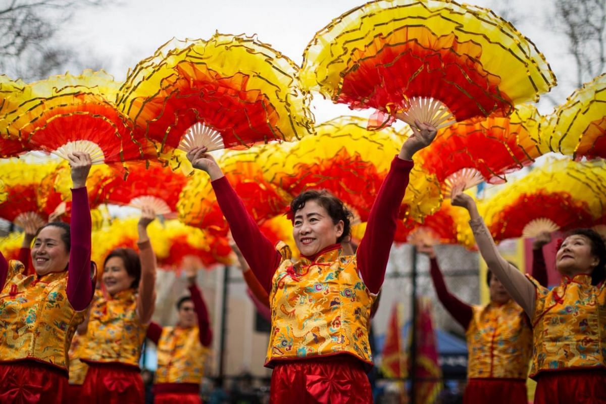 Dancers performing at a cultural festival in Manhatten, New York.